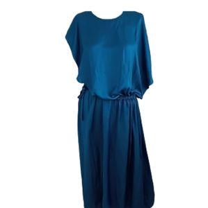 Cedric Charlier Blue Satin Cinch Waist Maxi Dress